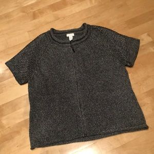 Chico's Short Sleeve Gray Knit Jacket/Top Size 2